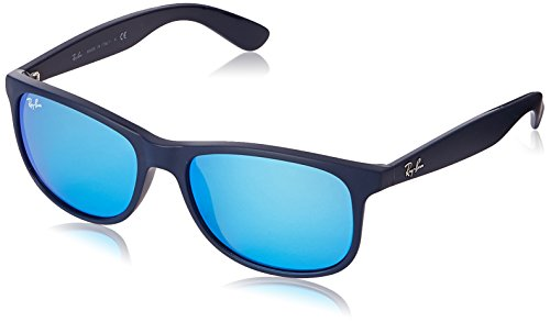 Ray-Ban Andy - Matte Blue Frame Blue Mirror Lenses 55mm - Ray Blue Lens Bans