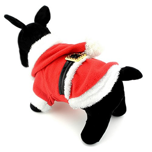 Ranphy Small Dog Cat Fleece Outfits Santa Claus Costume Christmas Pet Costume Chihuahua Hoodie Dog Jumpsuit Xmas Dog Costumes Red L