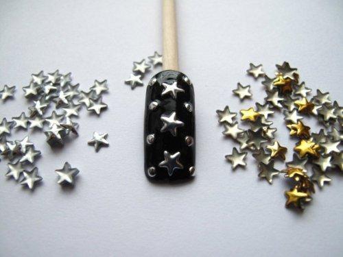 Leegoal Fashion 3D Design Golden/Silver Metallic Studs Nail Art Stickers(Gold&Silver,5 set of)