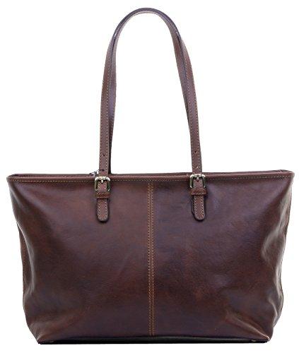 Lusso Ladies in pelle italiana lungo regolabile gestito Tote grande Grab Bag o borsa a tracolla.Fornita nella pratica custodia protettiva marca Marrone scuro