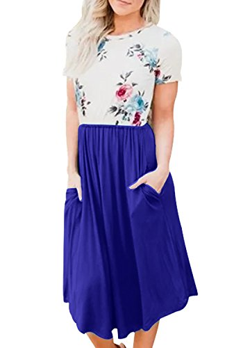 Women Short Sleeve Casual Patchwork Swing Floral Print Midi Pleated Dress Blue S
