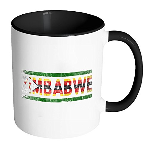 Retro Vintage Flag Zimbabwean Zimbabwe 11oz Black & White Coffee Mug ~ Both Sides Printed