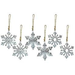 Christmas Farmhouse Home Decor AuldHome Galvanized Snowflake Ornaments (6-Pack); Rustic Farmhouse Decor Metal Christmas Tree Decorations, Large 6-Inch…