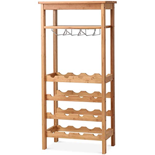 COSTWAY Wine Rack, Bamboo Wine Storage Shelf Organizer with Glass Hanger and 2 Slatted Shelves, 16 Bottles Wine Holder Free Standing Display Rack for Kitchen Pantry(16 Bottles with Hanger & ()