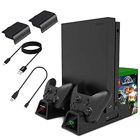 Lictin Xbox One Cooling Vertical Stand - Dual Controller Charging Docking  Station for Xbox One/ Xbox One S /Xbox One X Console with 2 Pack 600mAh