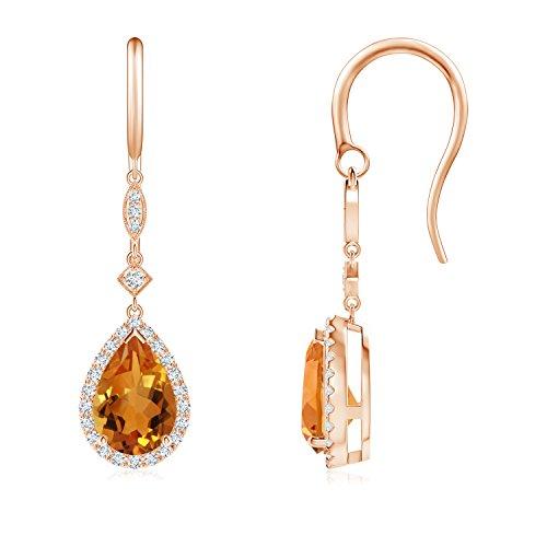 Shepherd Hook Diamond and Citrine Teardrop Earrings for Women in 14K Rose Gold (8x5mm Citrine)