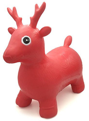 VIAHART Red Deer Hopper, Pump Included, Inflatable Jumping Space Hopper Hopping Hoppity Hippity Hop Ride-on Bouncy Animal for Kids