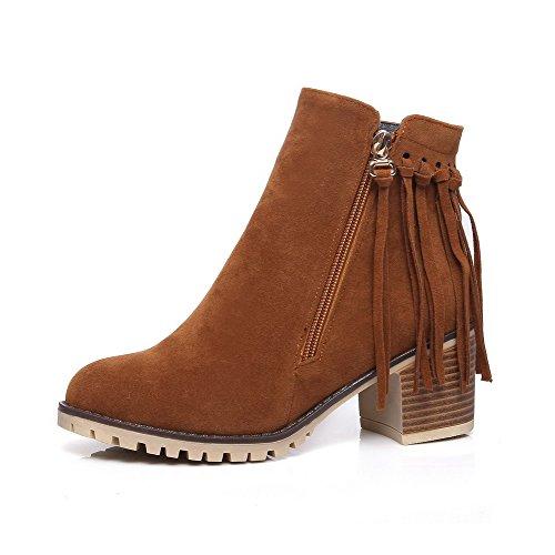 Boots Women's Kitten Zipper Heels Round Yellow PU Solid Toe AgooLar 1POSO