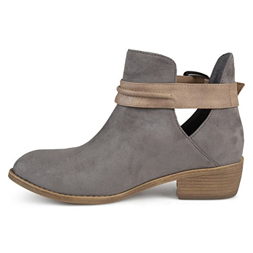 Stacked Heel Myra Faux Co Grey Suede Booties Brinley Womens qxHwSv7vX
