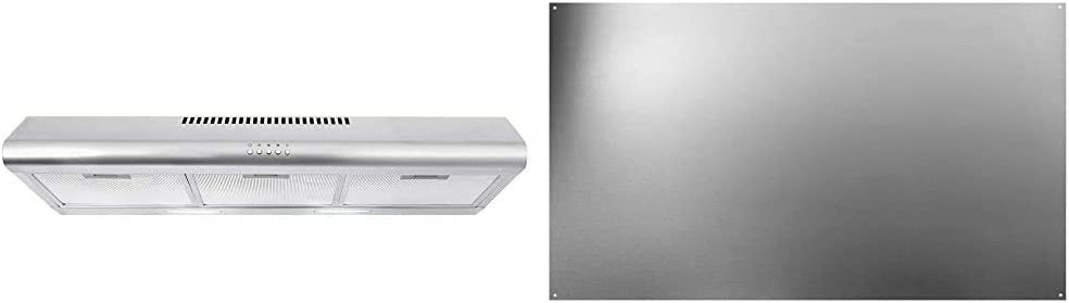 "Cosmo COS-5MU36 36 in. Under Cabinet Range Hood Ductless Convertible Duct, Stainless Steel, 36 inch & Broan-NuTone SP3604 Backsplash Range Hood Wall Shield for Kitchen, Stainless Steel, 24"" x 36"""