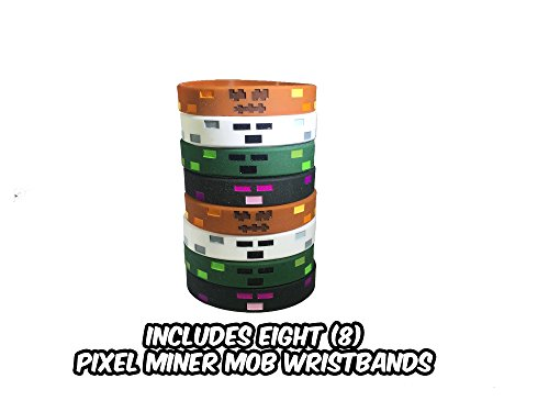 Pixel Halloween Mine Crafter-Style Mob Wristbands (8 Pack)- Hostile Mob Designs - Ghost, Endaman Monster, Zombie Monster, Jack O Lantern - 2 of Each Style (Minecraft Halloween Party)