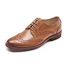 c376b03a63ea14 U-lite Women s Perforated Lace-up Wingtip Pure Color Leather Flat Oxfords  Vintage Oxford