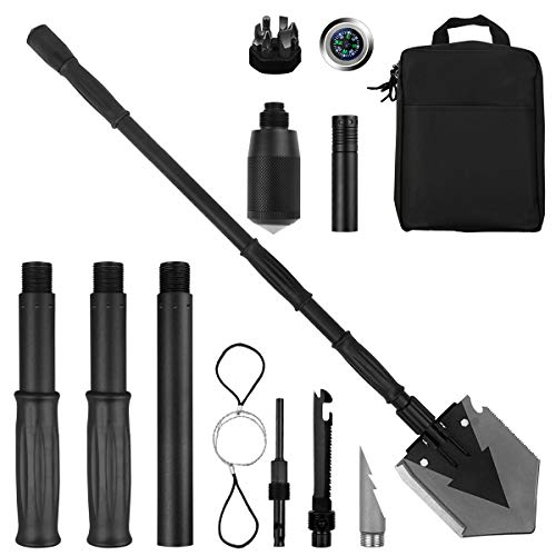 Yeacool Portable Folding Shovel Pickax with Tactical Waist Pack Military Multitool Garden Spade for Camping trenching Car Emergency (Big Shovel)