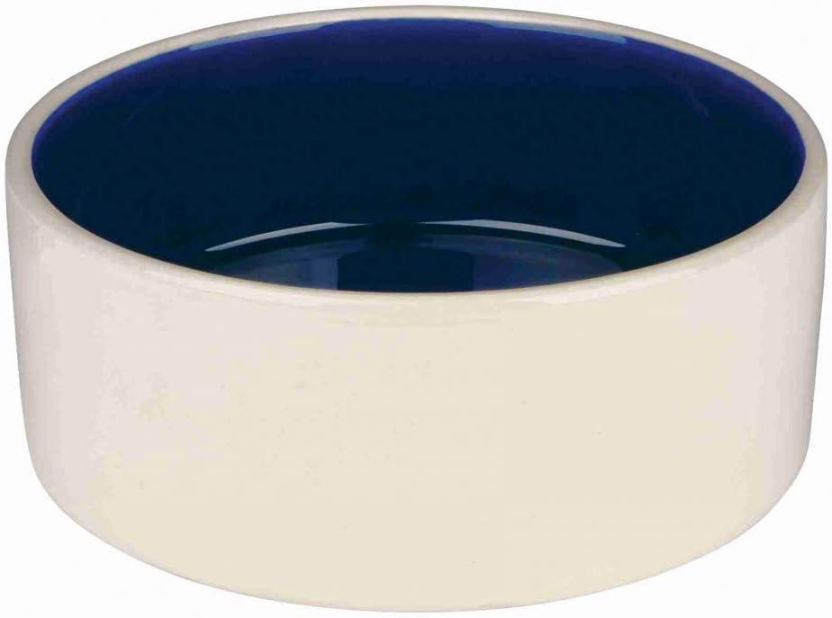TRIXIE Comedero Cerámica, 1 l, ø18 cm, Crema-Azul, Perro