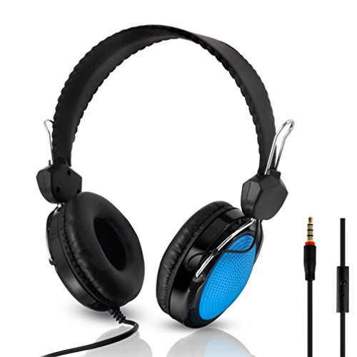 (GBSELL T-420 Mic Control Wired Stereo HiFi Music Computer Lightweight Headset (Blue))