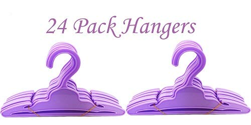 Brittany's 24 Pack Purple Hangers Compatible with American Girl Doll Clothes- 18 Inch Doll Clothes Hangers (Doll Clothes Hangers For 18 Inch Dolls)