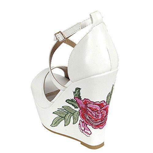 Evigt Länkar Womens Peep Toe Korsmönstrad Ankelbandet Blomtryck Kil Plattform Klack Pump Sandaler Vita