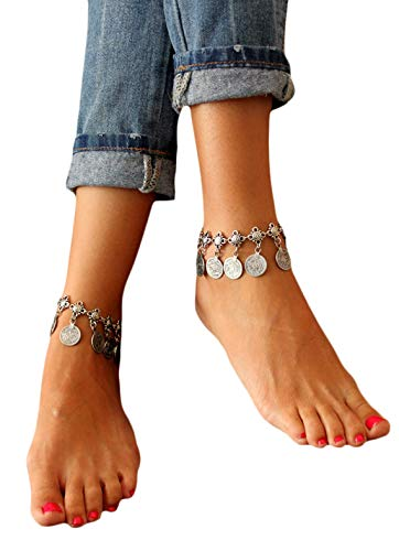 Edary Vintage Boho Chain Anklet Coin Tassels Beach Hawaiian Ankle Bracelet For Women and Girls (2PCS)