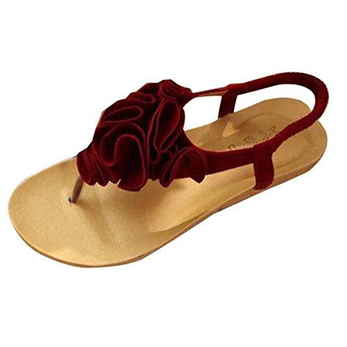 de Internet La Rojo de Mujeres de Verano Bohemia de Sandalias de Flor Sandalias de Mujer Zapatos del La Playa Las Las qqOIP