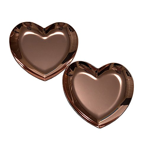 2 Pack Rose Gold Dishes,Heart storage tray dish plate for Jewelry container with love memory,candy,more. (Rose Gold)