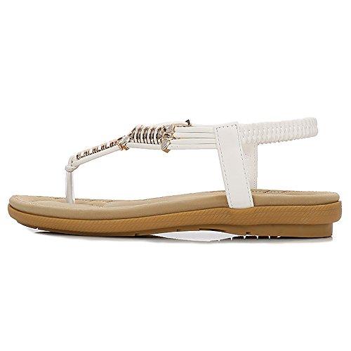 White Thong Women Sandals Back Sandal Flip 04 Flops Bohemian Beach Strap Elastic T Wollanlily 7RdqHn4xq