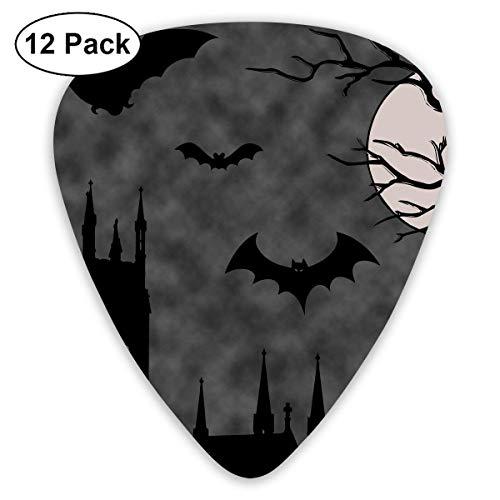 Anticso Custom Guitar Picks, Cool Halloween Night Owl Bat Castle Guitar Pick,Jewelry Gift For Guitar Lover,12 Pack ()