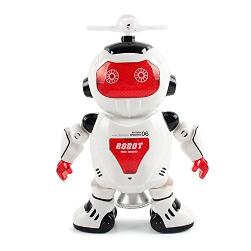 E-SCENERY Electronic Walking Dancing Smart Astronaut Robot with Music And Light, Great Educational Toys for Kids (Red)