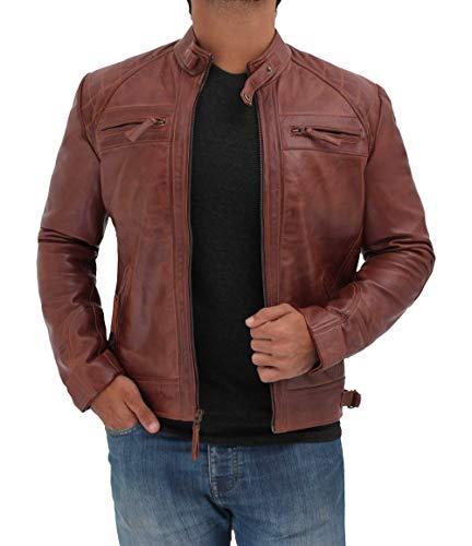 Decrum Brown Mens Vintage Biker Distressed Genuine Leather Jackets| [1100083] Diamond 1 Brown, M