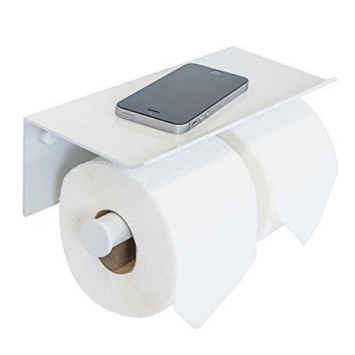 Toilet Holder Vintage Paper Chrome (Double Roll Toilet Paper Holder with Phone Shelf - Bathroom Tissue Dispenser - Modern Style (White))