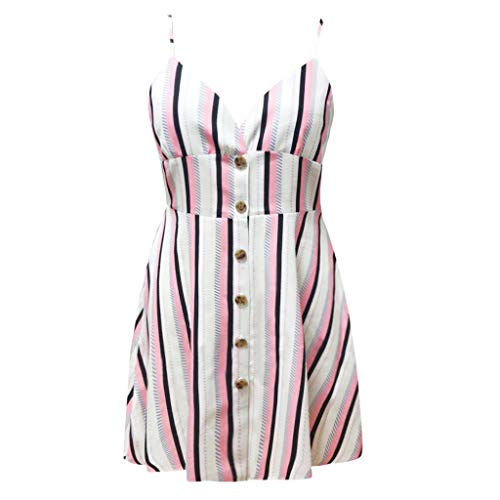 LOMONER Dress for Women Plus Size Sexy Vertical Stripes Single-Breasted Waist Strap Dress