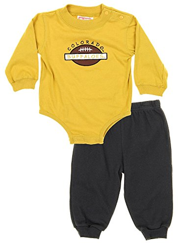 Colorado Buffaloes NCAA Baby Boys Creeper Top and Pants Set, Gold & Black