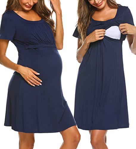 Ekouaer Labor/Delivery/Nursing/Breastfeeding Hospital Gown Maternity Sleepwear for Women