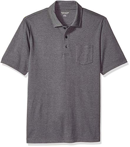 (Amazon Essentials Men's Regular-Fit Pocket Jersey Polo, Charcoal Heather, Medium)