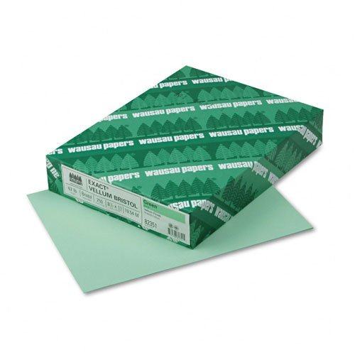 Wausau Paper : Vellum Bristol Cover Stock, 67lb, Green, Letter, 250 Sheets per Pack -:- Sold as 2 Packs of - 250 - / - Total of 500 Each
