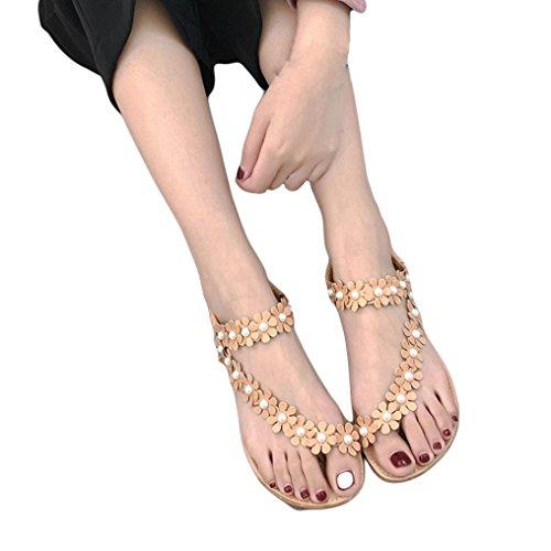 SANFASHION Sandales Femmes Mode Été Bohème Sandales Perlées Sucrées Clips Sandales Strass Toe Chaussures de Plage Sandales à Chevrons Chaussures Kaki Perles n87s2Bd