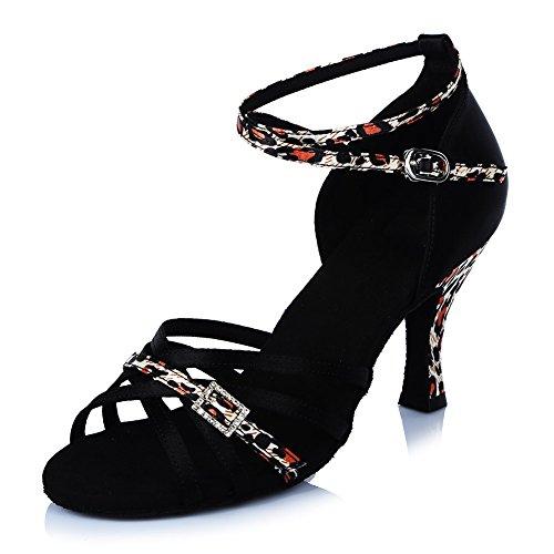 Salón de Zapatos de HIPPOSEUS Mujeres de Zapatos Danza de Modelo de Baile La Zapatos Latinos Satén Baile Leopardo el ESAF402 R8XXzrIw