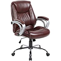 eurosports PU Leather Chair ES-9127-2-BR Mid-back Ergonomic Executive Adjustable Computer Task Desk Office Chair, Brown