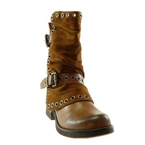 Blockabsatz Schuhe Classic 3 Stiefel Tanga bi Stiefeletten Material Biker cm Perforiert Angkorly String Schleife Damen Camel Hqw5x7p