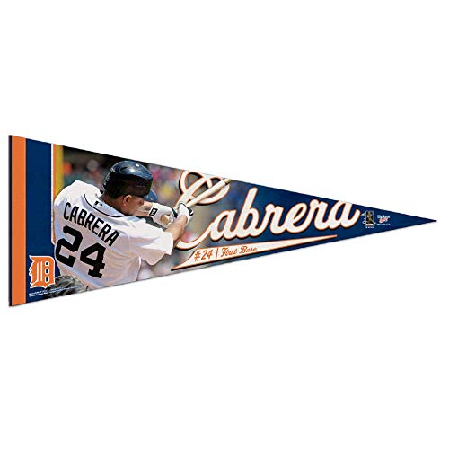 Bek Brands Major League Baseball Teams Flag Banner Pennant, 12 x 30 in, Featuring Players (Detroit Tigers, Miguel Cabrera)