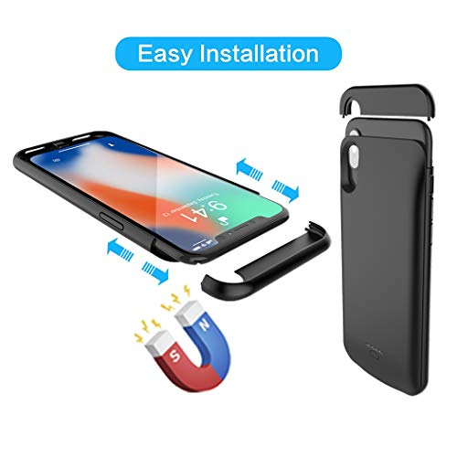 iPhone X Battery Case, Euhan 4000mAh Rechargeable Portable Power Charging Case for iPhone X (5.8 inch) Extended Battery Pack Protective Ultra Thin Charger Case,Compatible with Wire Headphones (Black) by Euhan (Image #3)
