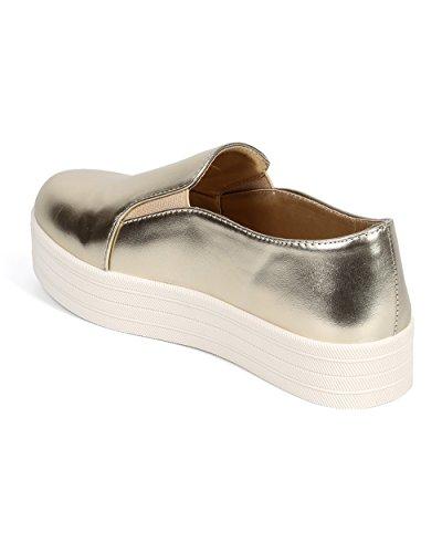 Breckelles Di30 Kvinner Metallisk Rund Tå Flatform Elastisk Slip On Sneaker - Gull