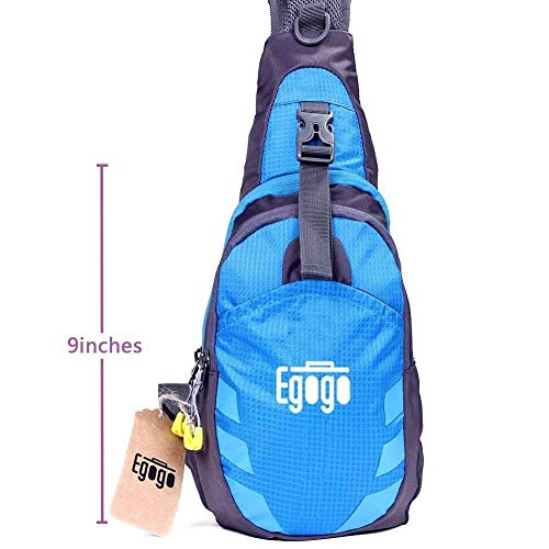 - EGOGO Multi-Functional 3 Layers Hiking Cycling Bag Sling Pack with Adjustable Shoulder Strap Cross Body Chest Bag Shoulder Sling Bag Mini-Bag for Men & Women(Blue)
