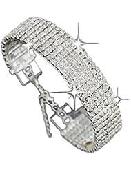 JSPOYOU Clearance! Bracelets for women Crystal Rhinestone Bracelet Bangle Wedding Bridal Wristband Sliver