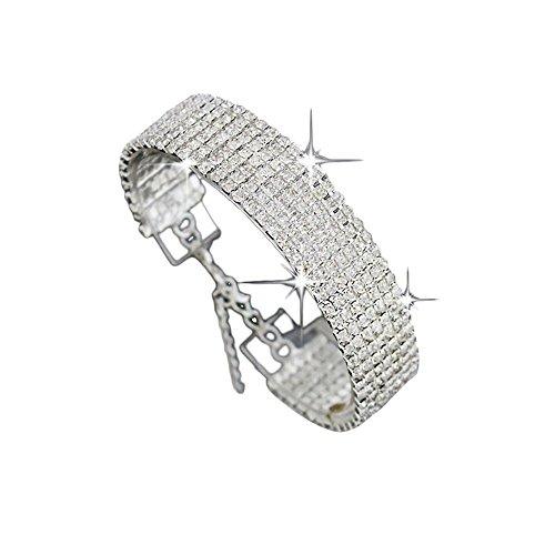JSPOYOU Clearance! Bracelets Women Crystal Rhinestone Bracelet Bangle Wedding Bridal Wristband Sliver (Sliver) from JSPOYOU