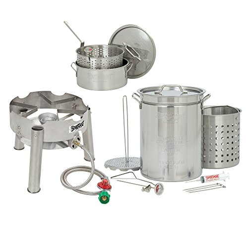 Bayou Classic 32 Quart Complete Stainless Steel Deluxe Turkey Fryer Kit With 10 Quart Fry (Deep Fried Turkey Injector)