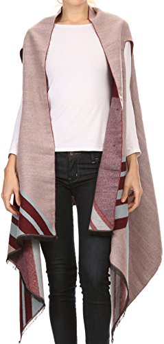 Sakkas 16118 - Janeek Thick Warm Long Tapered Striped Multi Color Block Poncho Cape Wrap - Pink -