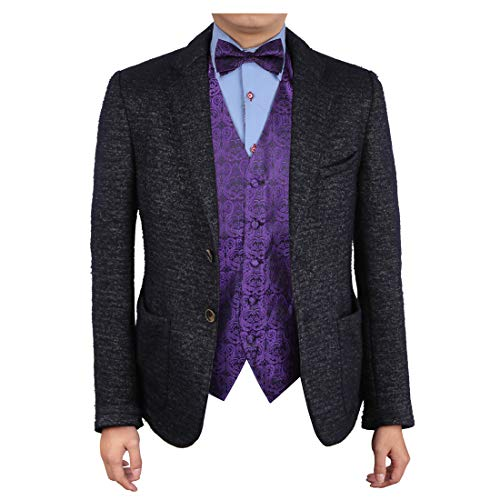 Epoint EGE1B05B-L Dark Violet Black Paisley Microfiber Waistcoat and Pre-tied Bow Tie Absolutely For Lawyers