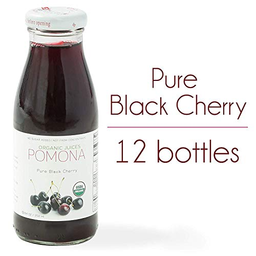 - POMONA Pure Black Cherry Juice, 8.4 oz Bottle (Pack of 12), Cold Pressed Organic Juice, Non-GMO, No Sugar Added, Not from Concentrate, Gluten Free, Kosher Certified, Preservative Free