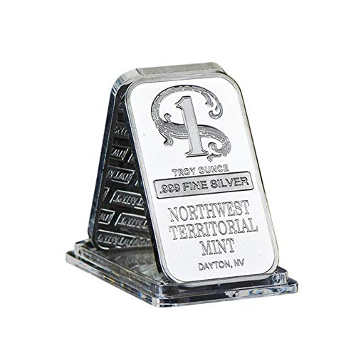SW Silver Plated Metal Bar Northwest Mint Art Crafts Bullion Bar,One Dollar Silver Plated Bars Metal Crafts with Plastic Case Metal Bars Unique Gift