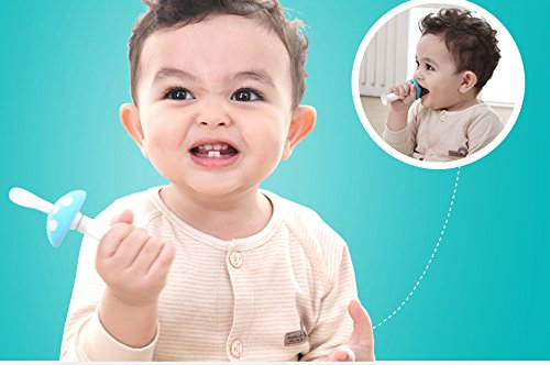 Mushroom Standing Training Toothbrush And Tongue Massage For Baby Infant Newborn Also Chew Teether Silicone Material 4pcs (Yellow) by Babyhood (Image #7)